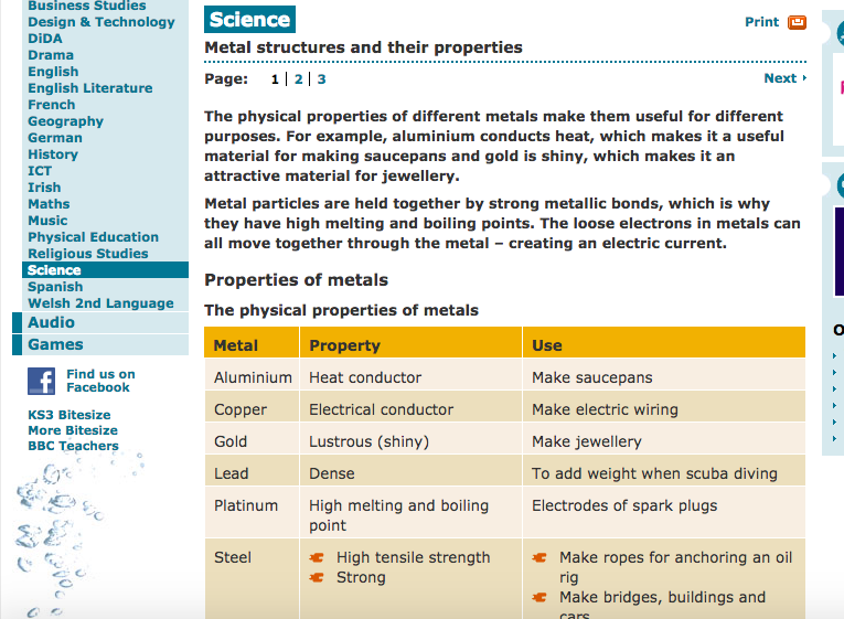 Unit 1 chemistry research investigation of metals sciences gcse bitesize science metal structures and their properties urtaz Choice Image