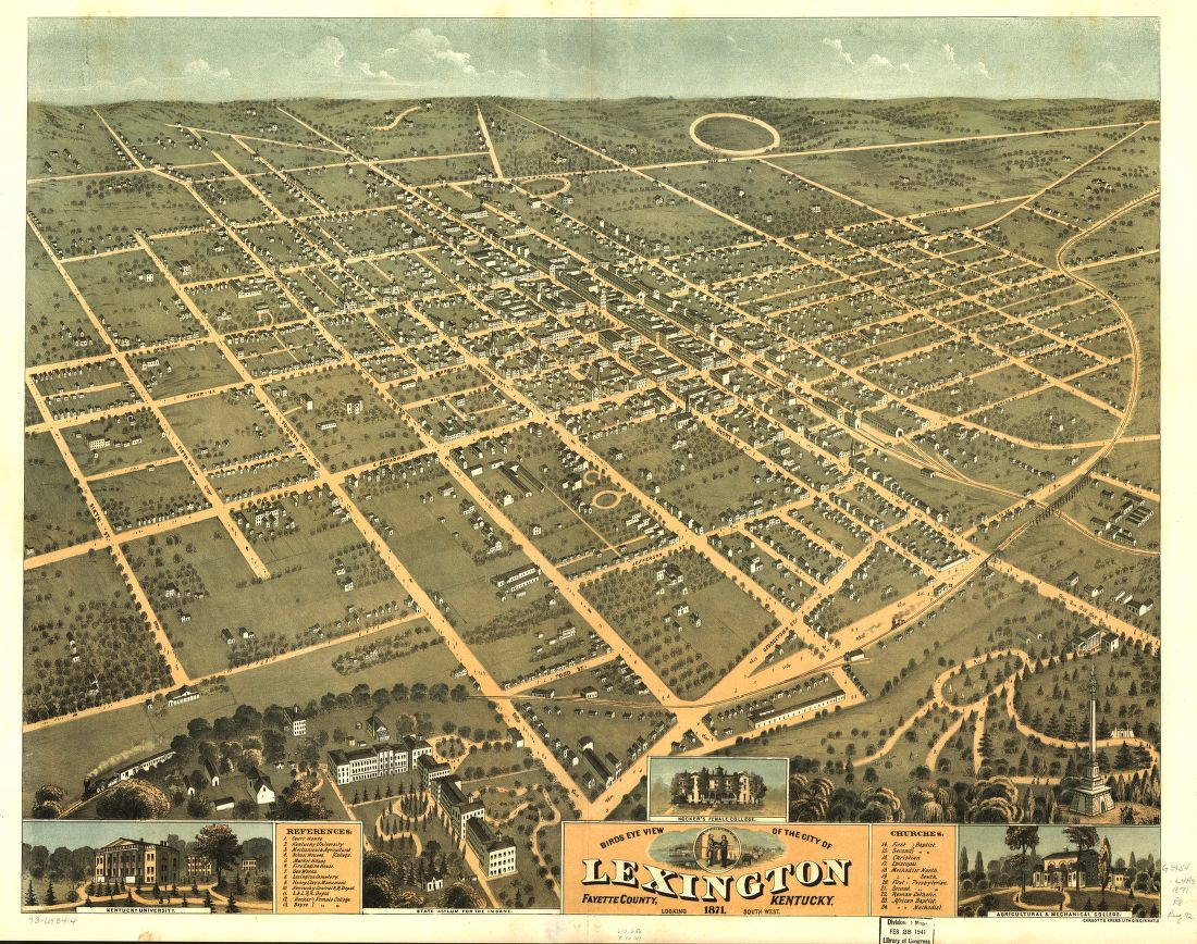 Bird's eye view of the city of Lexington, Fayette County, Kentucky 1871