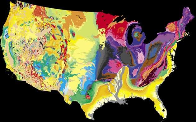 Geological map of the United States in color, from the United Stated Geological Survey