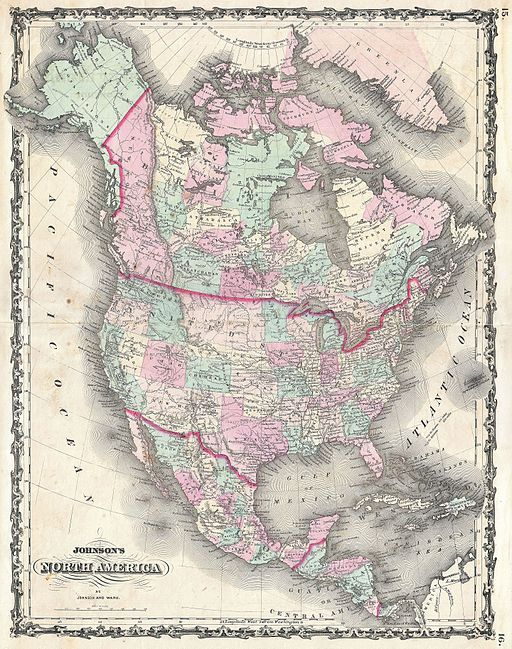 A. J. Johnson's 1862 map of North America