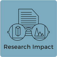 Image showing glasses looking at a research paper with the words research impact below