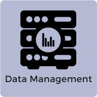 Image of a server and graph with the words data management below