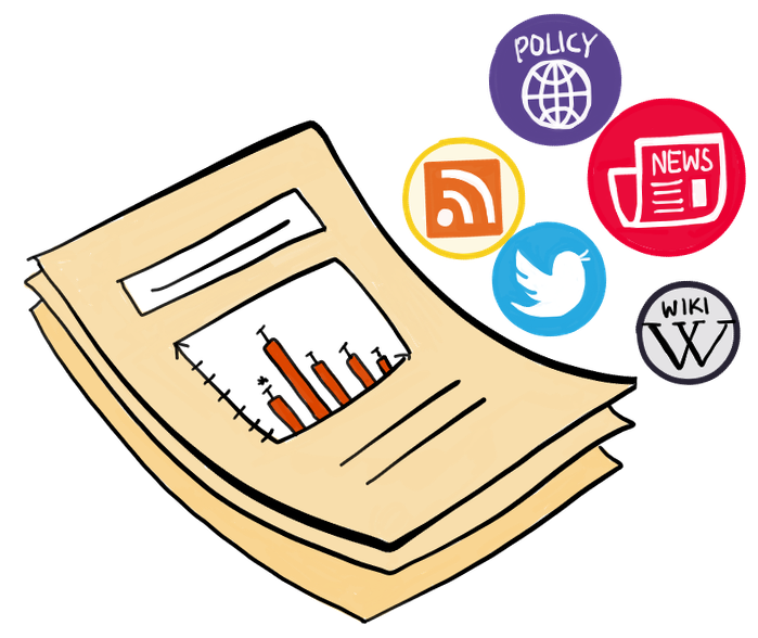 Image of a research paper with five icons: policy, newspaper, twitter, wikipedia, and rss reader to reflect the data that goes into altmetric attention scores