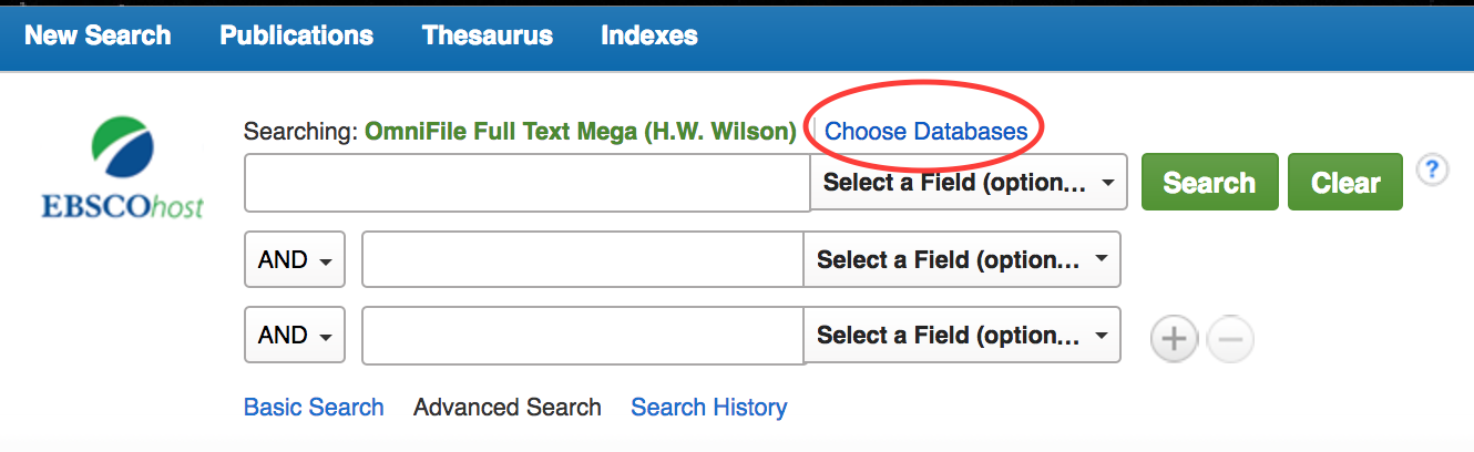 Choose Databases option in OmniFile Full-Text Mega
