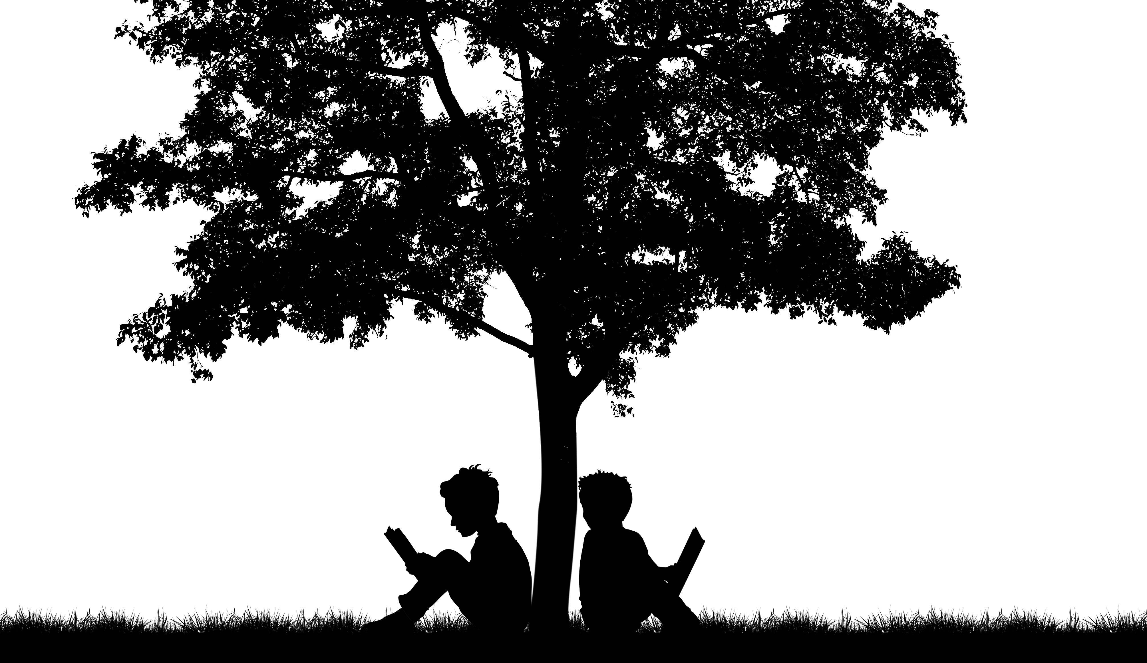 Silhouette of Two People Reading Under a Tree
