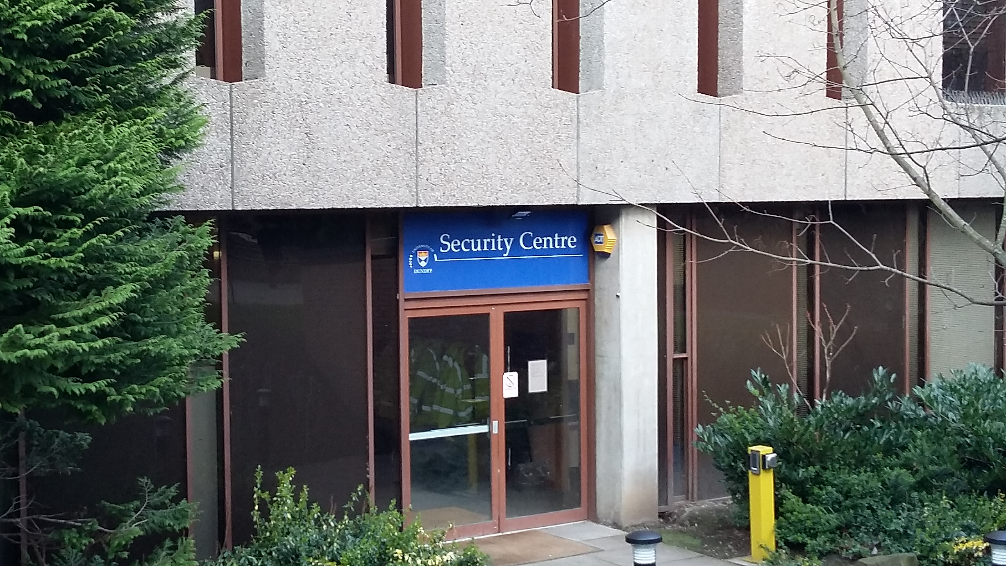 photograph of security centre at side of main library University of Dundee