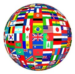 globe covered in colourful international flags