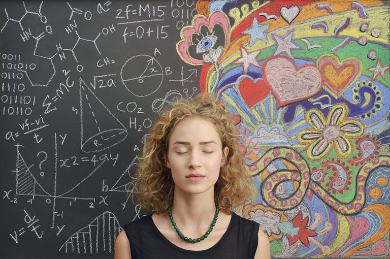 Photograph of woman with eyes closed standing in front of blackboard with chemical formulae, binary code, physics formulae and colourful chalk drawings