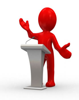 simple clip art figure  standing behind a lectern