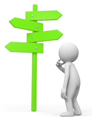 image of simple figure looking at signpost