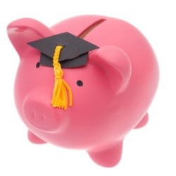 Piggy bank wearing an academic hat