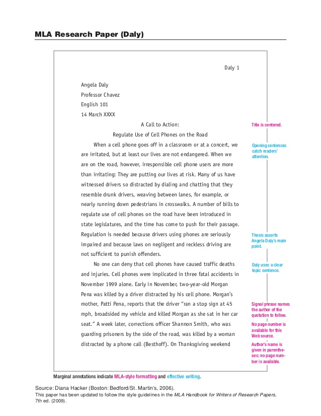 mla paper format with cover page