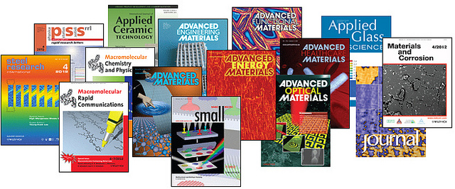 covers of materials science journals from Wiley Publishing