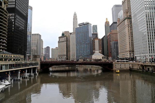 view of Chicago River, on the river pointing towards State Street