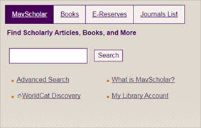 Image of MavScholar search box