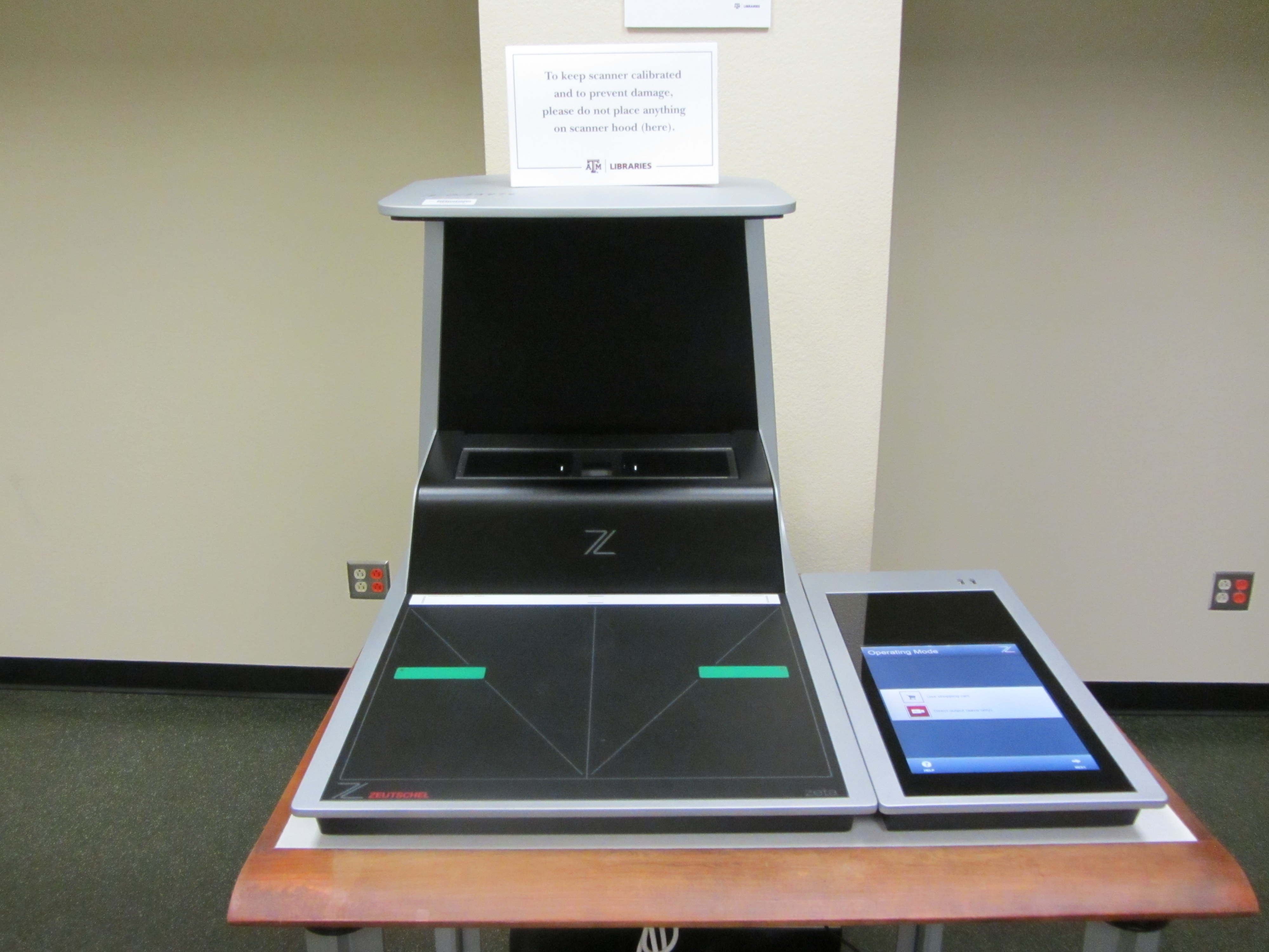 Zeta scanner in the Evan's Library at the Texas A&M University.