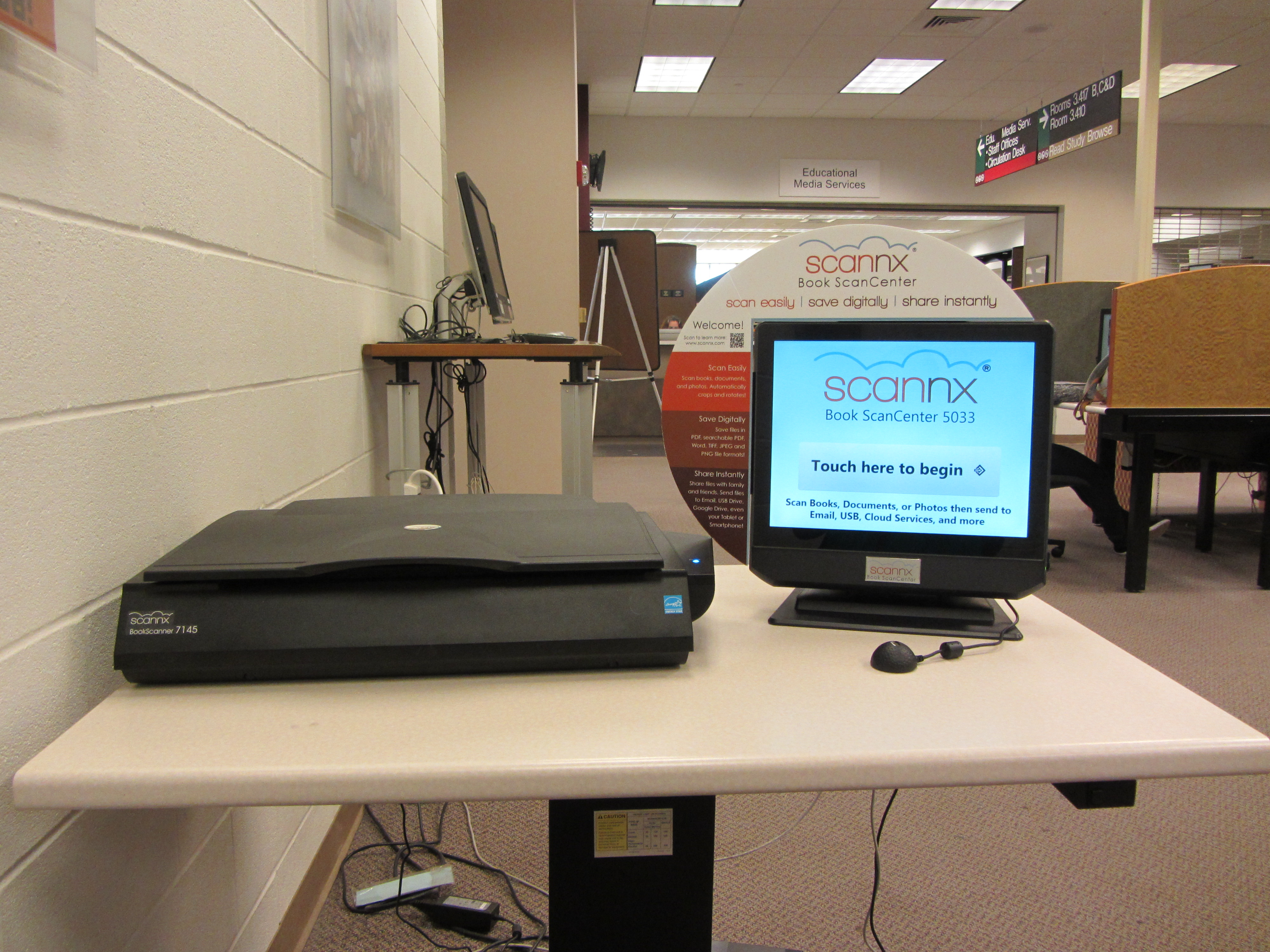 Scannx scanner in the Evan's Library at Texas A&M University