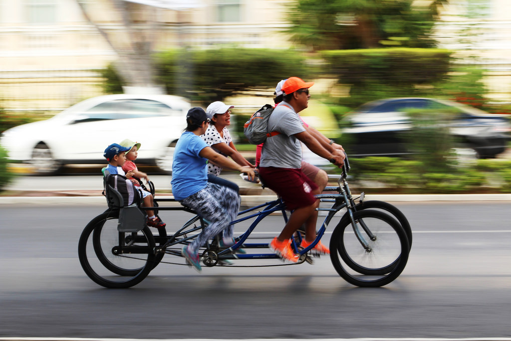 families riding on bikes