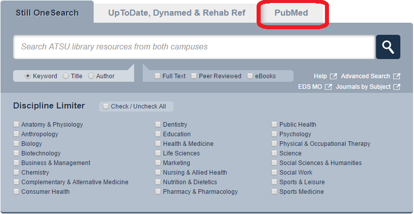Search box on Library Home, PubMed tab circled
