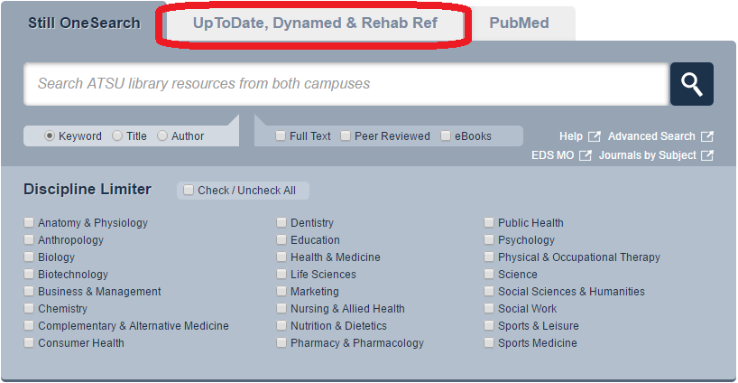 Search box from library home, clinical references tab circled