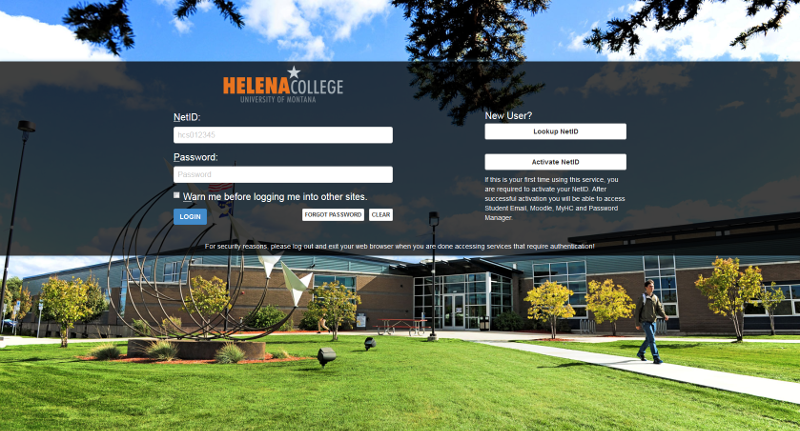 Helena College NetID login screen