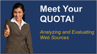 meet your quota analyzing and evaluating web sources screenshot
