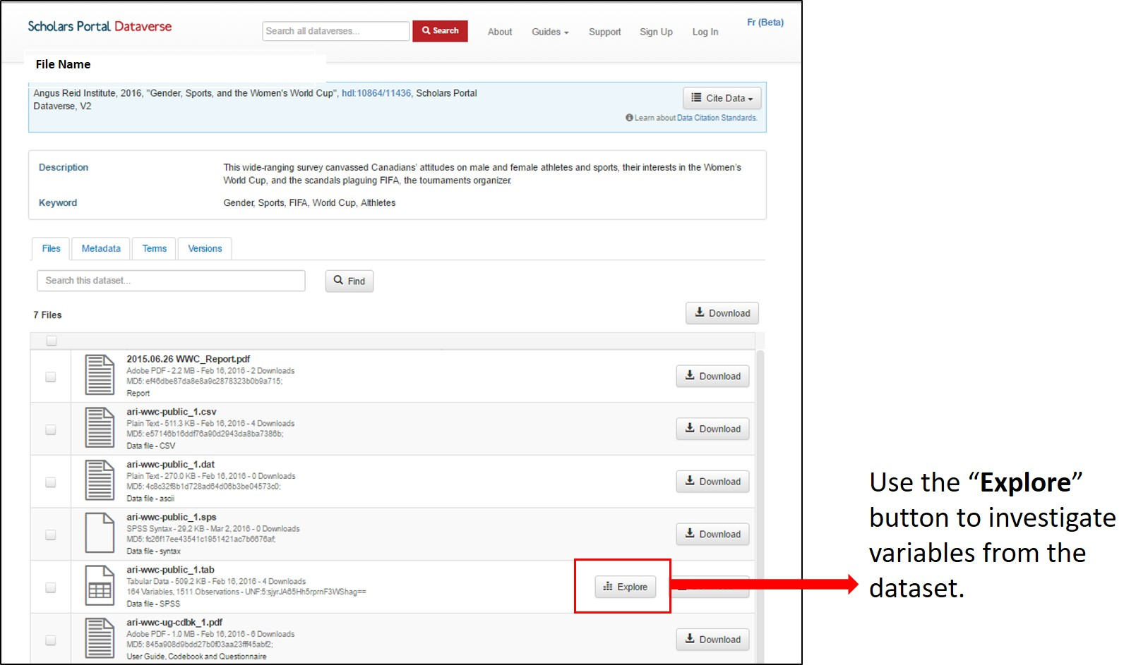 "Use the ""Explore"" button to investigate variables from the dataset."
