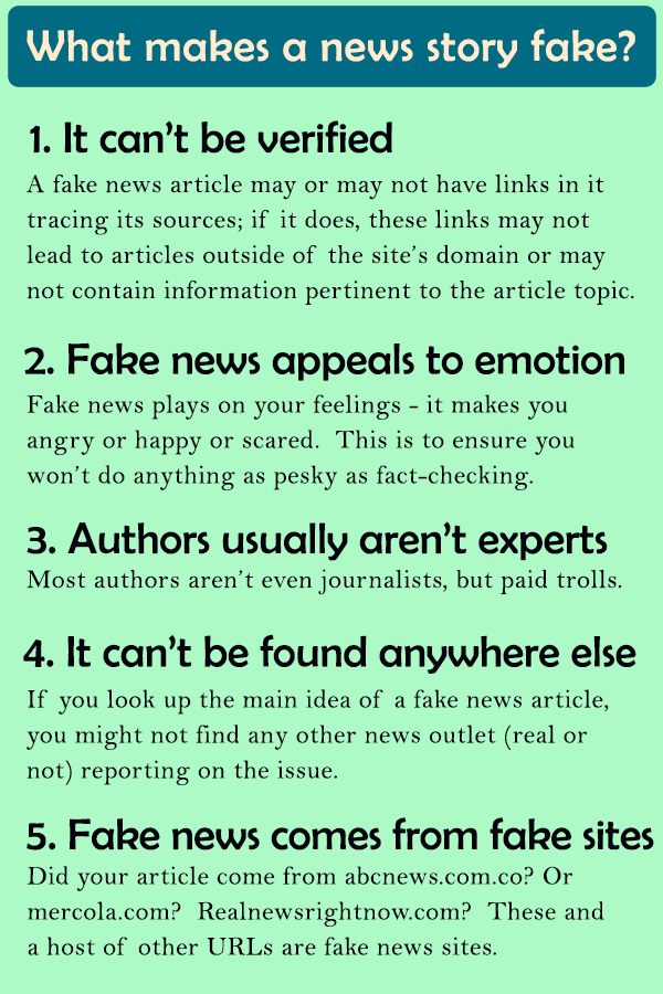 What makes a news stork fake? 1) It can't be verified - a fake news article may or m ay not have links in it tracing its sources; if it does, these links may not lead to articles outside of the site's domain or may not contain information pertinent to the article topic. 2) Fake news appeals to emotion - Fake news plays on your feelings - it makes you angry or happy or scared. This is to ensure you won't do anyting as pesky as fact-checking. 3) Authors usually aren't experts- Most authors aren't even journalists, but paid trolls. 4) It can't be found anywhere else - If you look up the main idea of a fake news article, you might not find any other news outlet (real or not) reporting on the issue. 5) Fake news comes from fake sites- Did your article come from abcnews.com.co? or mercola.com? Realnewsrightnow.com? These and a host of other URLS are fake news sites.