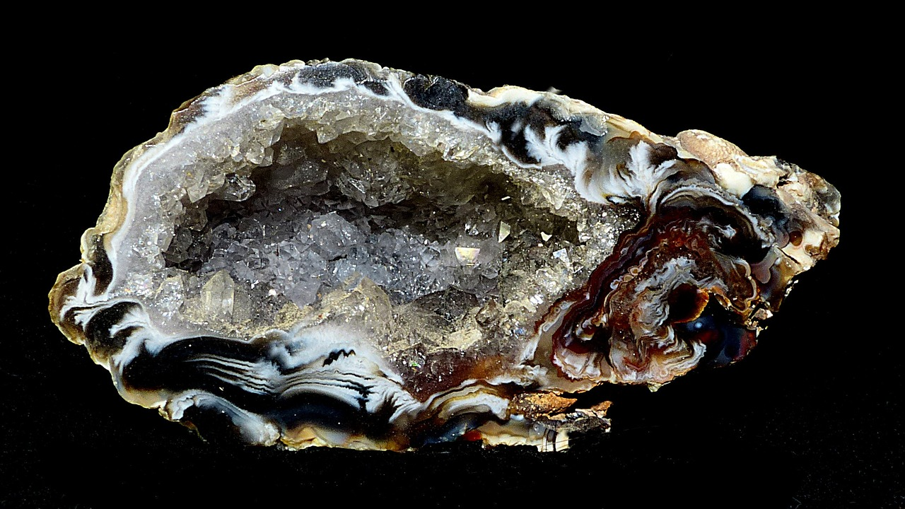 a geode showing crystals in the center of a rock