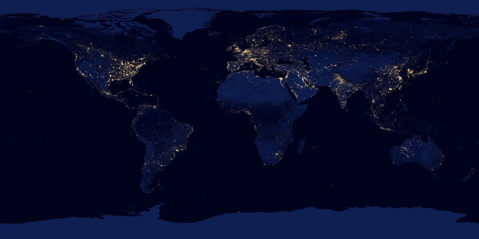 a map of the world at night with lights in heavily populated areas