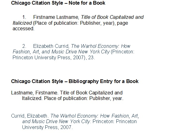 chicago citation format