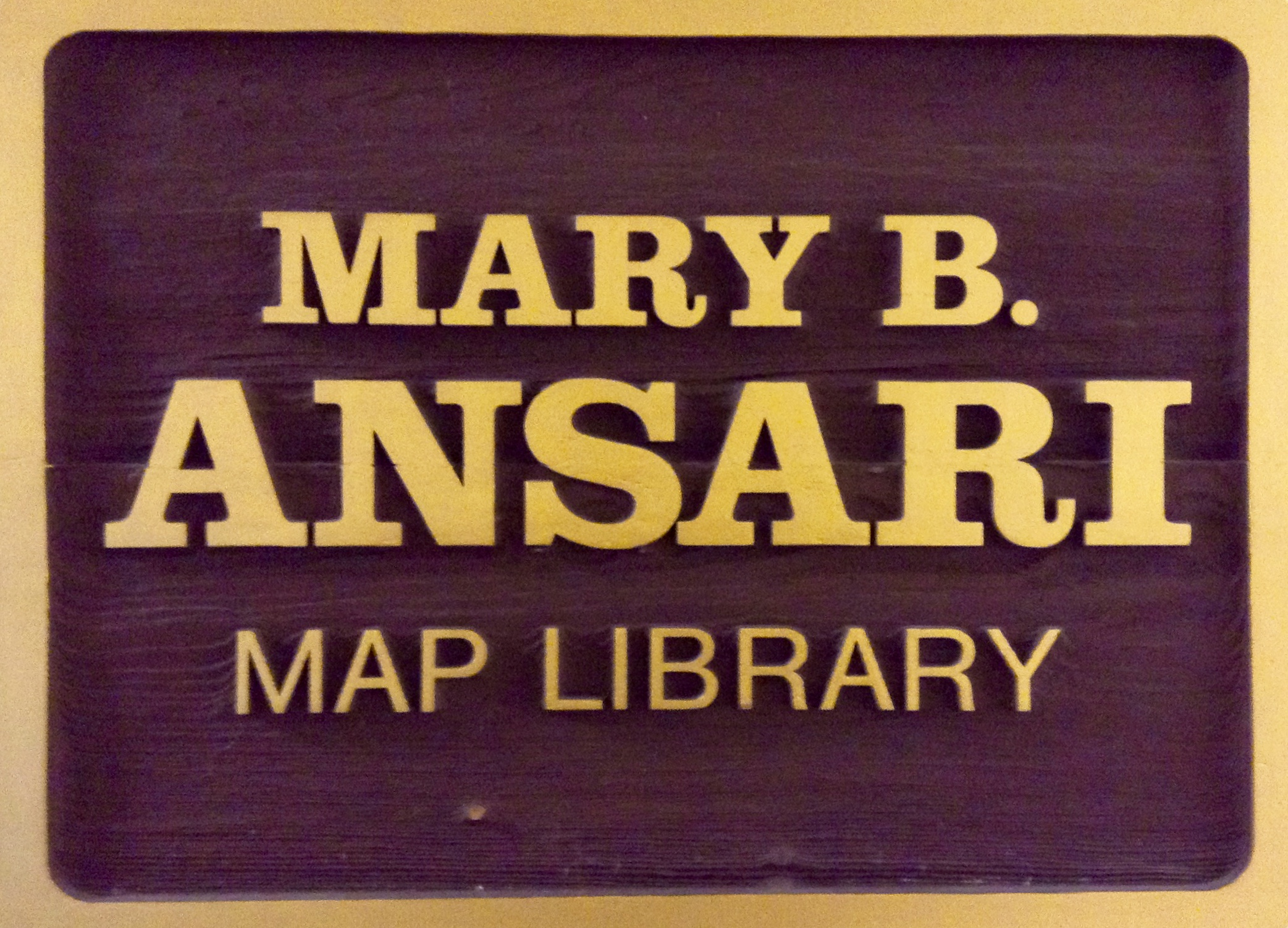 Image of the Mary B. Ansari Map Library plaque