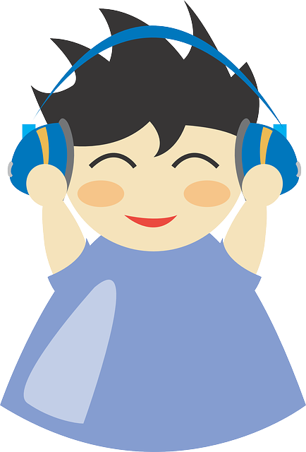 cartoon listening to headphones