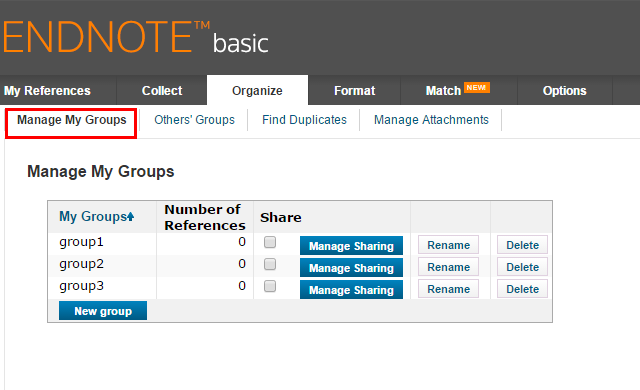 Manage groups in Endnote