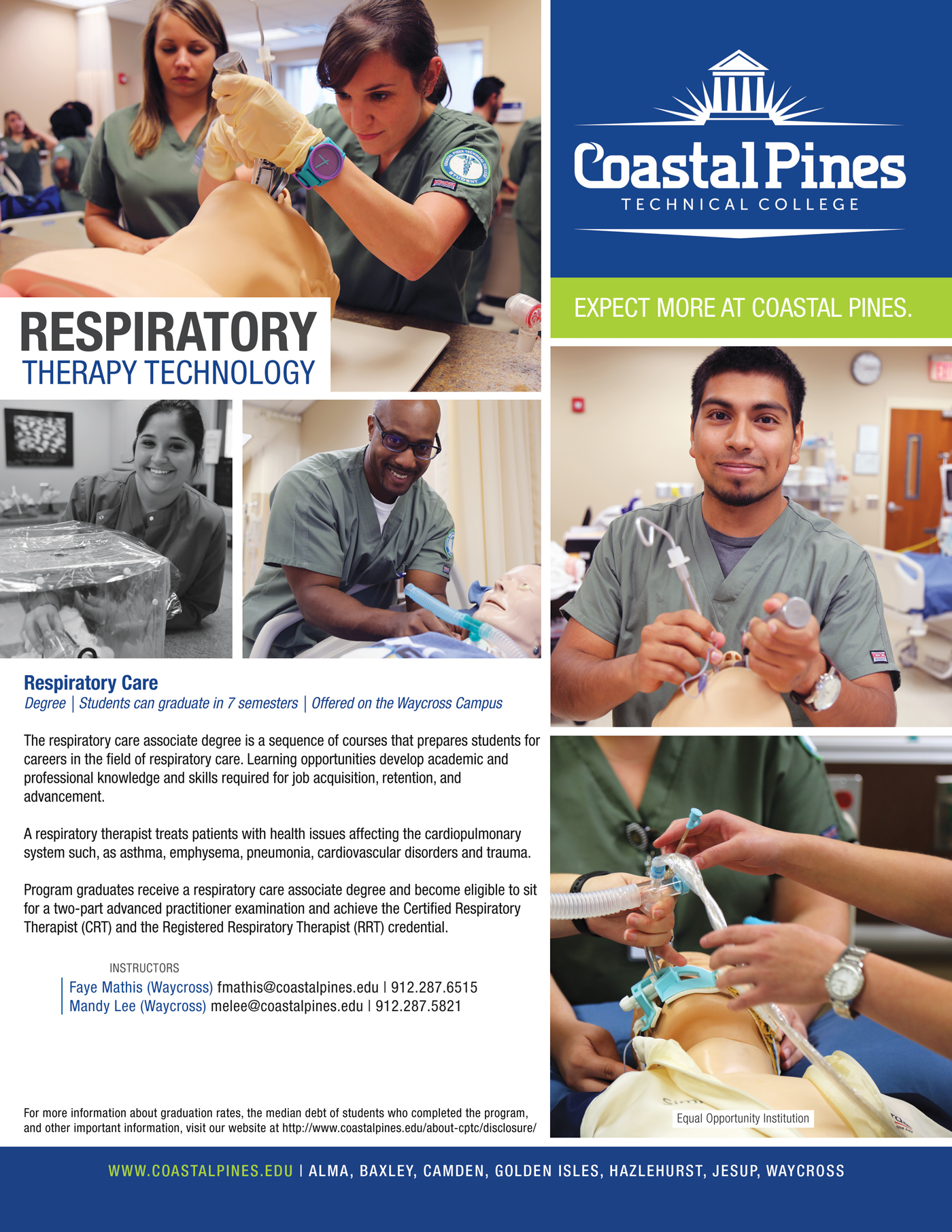 Poster for Respiratory Therapy Technology at Coastal Pines Technical College