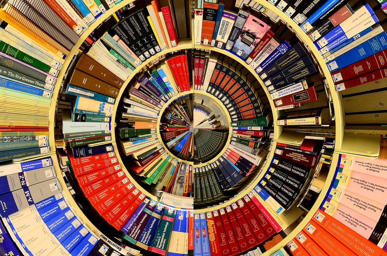 library books arranged in spiral