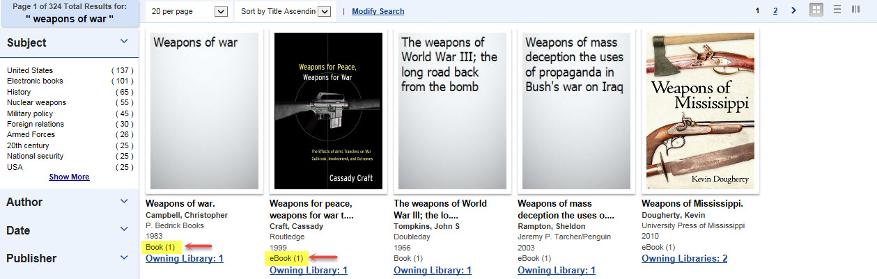 Catalog Screenshot Showing a Book and an eBook