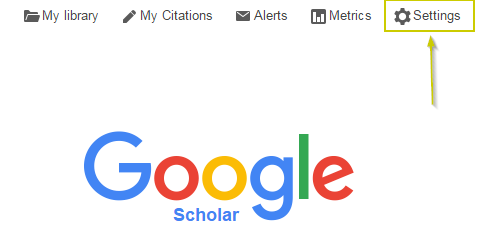 Google Scholar screenshot of settings location