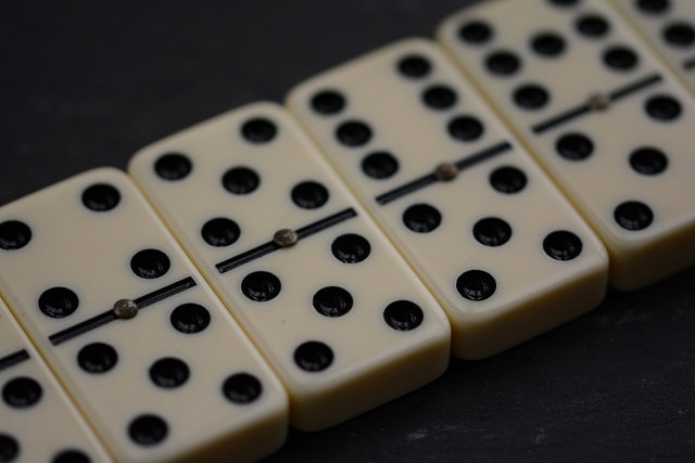 Dominoes showing number five