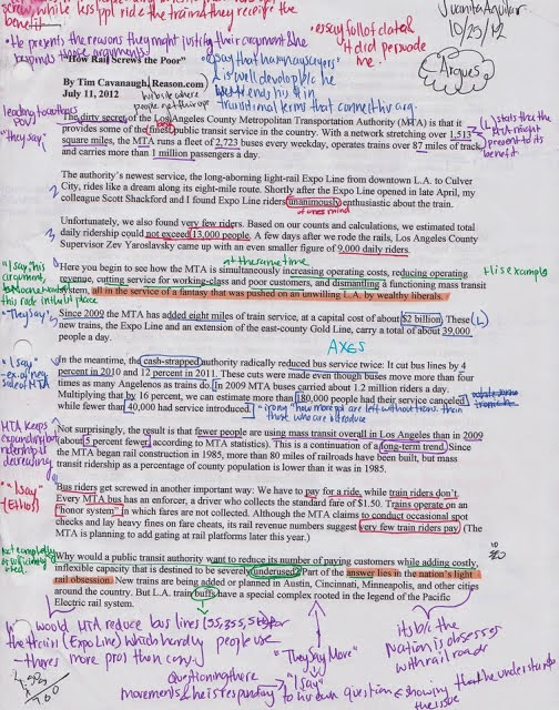 An article that has been annotated in colorful ink.