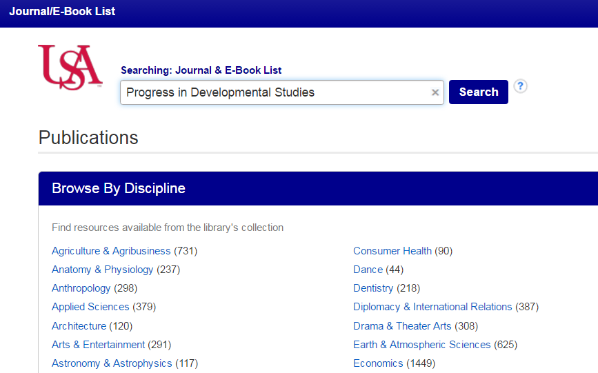 Screenshot of the USA Journal & Book List