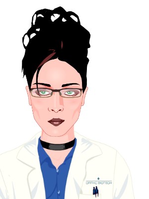 Voki character: female lab tech