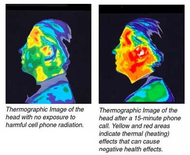 side by side cell phone radiation thermogram