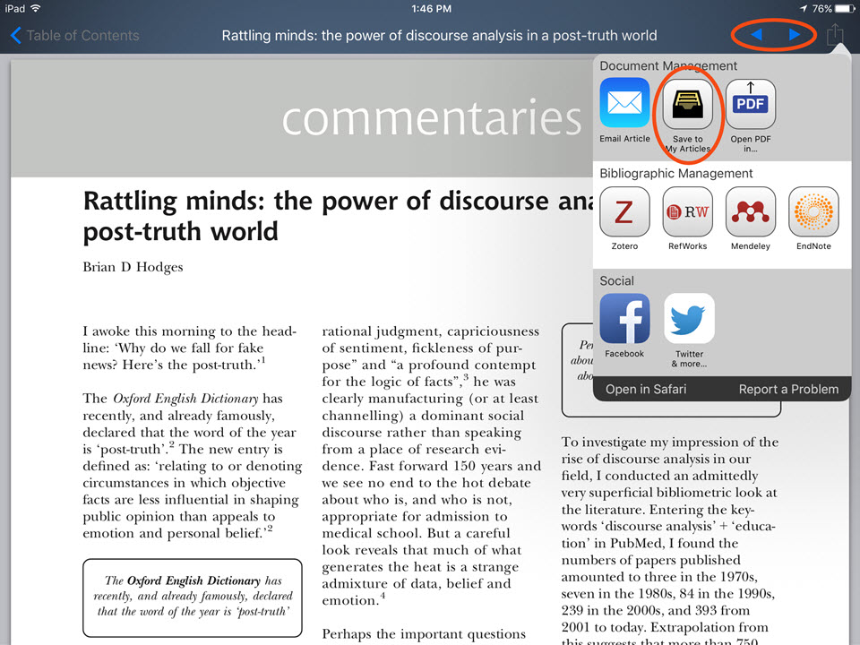 Browzine mobile app article view