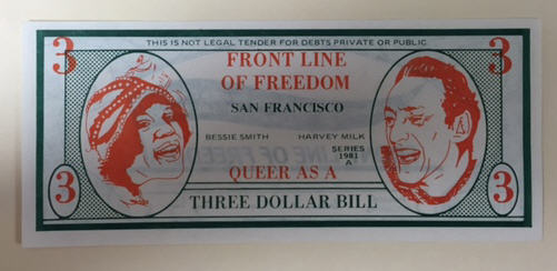 "Front of satire currency: ""queer as a three dollar bill"""
