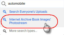 Flickr search menu showing Internet Archive Book Images Photostream