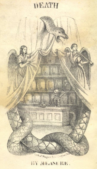 Illustration from a temperance tract shows a giant serpent surrounding a bar filled with kegs of beer, and a skeleton serving as bartender.
