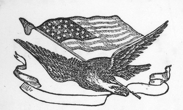 Sketch of bald eagle flying near an American flag.
