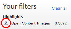 Getty Open Content filter detail