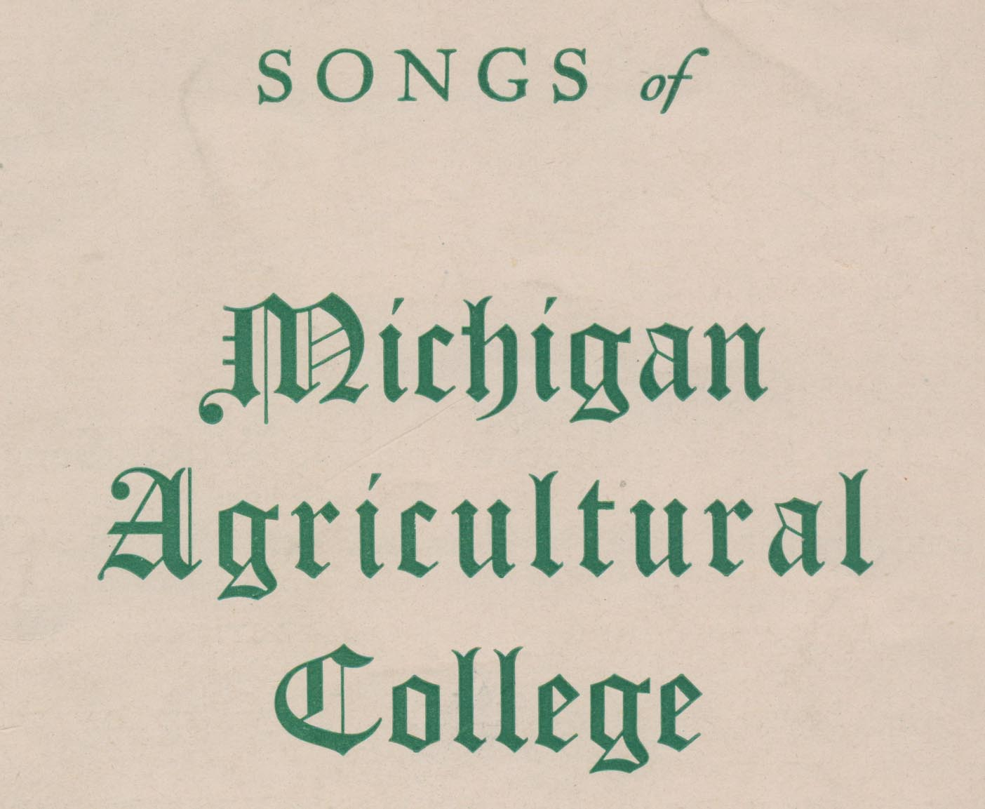 Detail of title page for Songs of Michigan Agricultural College
